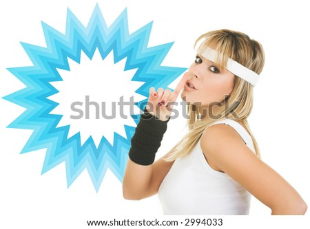 young woman silence gesture. Woman advertising generic product - stock photo