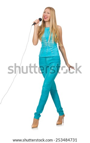 Young woman singer isolated on white - stock photo