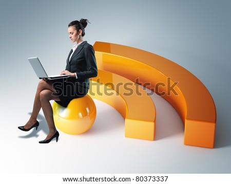 young woman sit on rss 3d symbol - stock photo