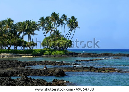 Young woman sits on the lava rocks of Anaehoomalu Bay on the Kohala Coast of the Big Island of Hawaii.  She is watching a green sea turtle that is basking in the sunlight and resting. - stock photo