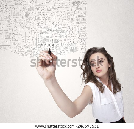Young woman sketching and calculating thoughts and ideas - stock photo