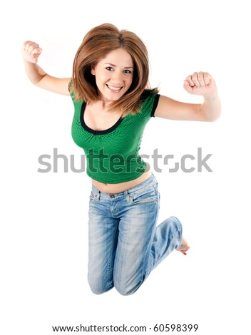 young woman smiling and jumping,isolated on white - stock photo