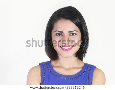 Young woman smiling face close up - stock photo