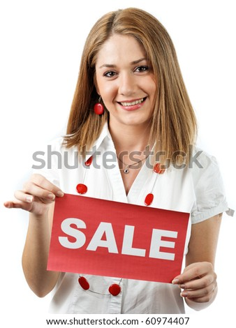 young woman smiling holding a sale sign,isolated on white