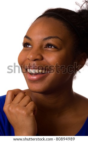 young woman smiling isolated on a white background.