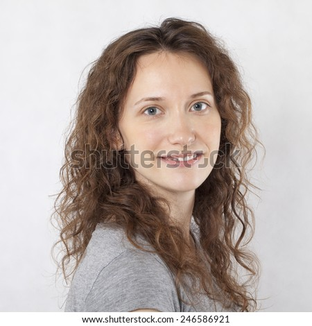 Young Woman Smiling Portrait. - stock photo