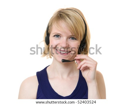 Young woman smiling talking with headset isolated on white - stock photo