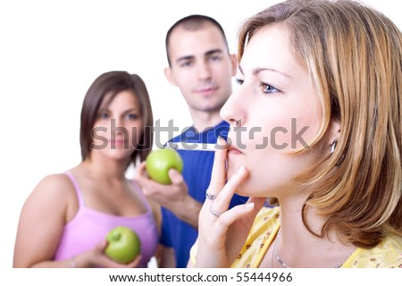 young woman smoking cigar while friends eating apple