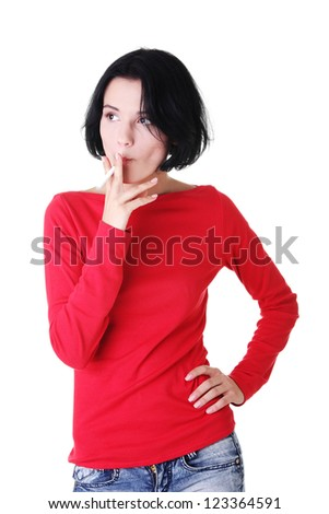Young woman smoking electronic cigarette (ecigarette), isolated on white - stock photo