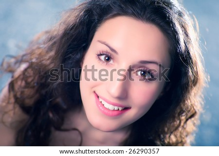 Young woman soft portrait. Shallow dof. - stock photo