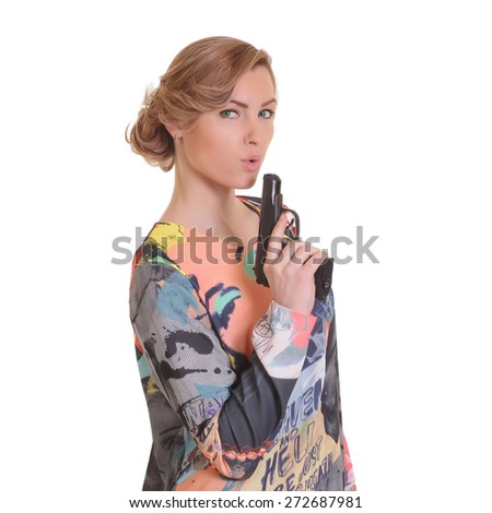 Young woman soldier with gun on white - stock photo
