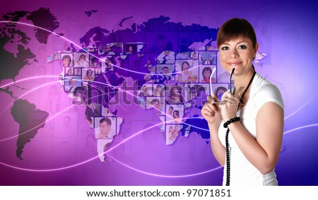 Young woman standing against world map background