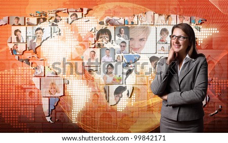 Young woman standing against world map background - stock photo