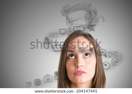 Young woman stressed with social media - stock photo
