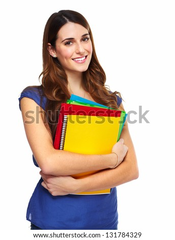 Young woman student with a book. Isolated on white background. - stock photo
