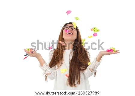 young woman student with post its in the air against a white background - stock photo