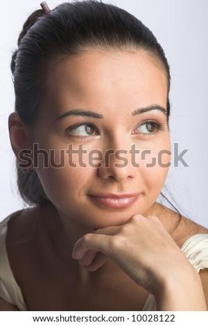 young woman. studio portrait. - stock photo