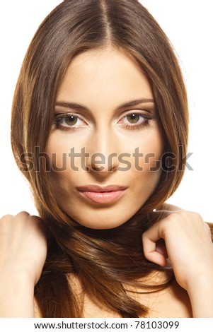 Young woman studio portrait. Perfect skin. Isolated on white background.  Close-up fresh woman face.  Light make-up.