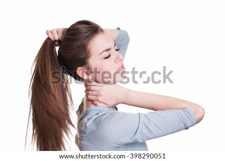 Young woman suffer from neck pain