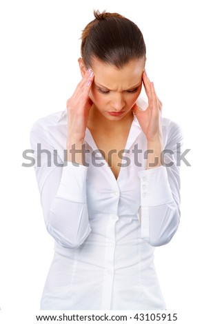 Young woman suffering a headache over white background - stock photo