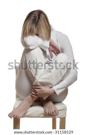 young woman suffering the burnout syndrome - stock photo