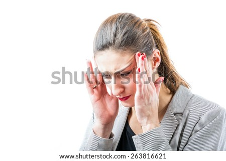 Young woman suffers from headache. - stock photo