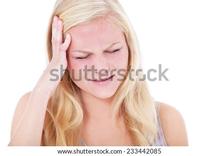 Young woman suffers from headache. All on white background. - stock photo