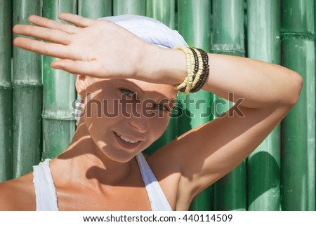 young woman summer beach portrait - stock photo