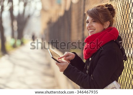 Young woman surfing the web