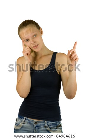 Young woman takes a decision for your product on white background - stock photo