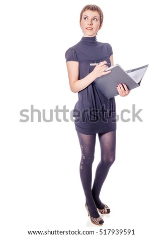 Young woman taking notes holding folder and pen isolated on white