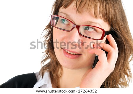 Young woman taking over cell or mobile phone