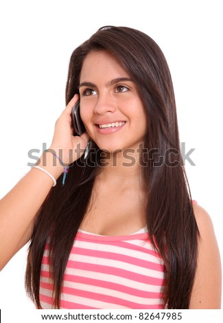 young woman talking cellphone isolated over white background