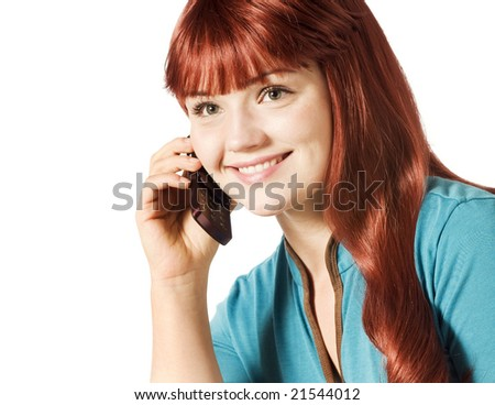 Young woman talking on a cell phone - stock photo