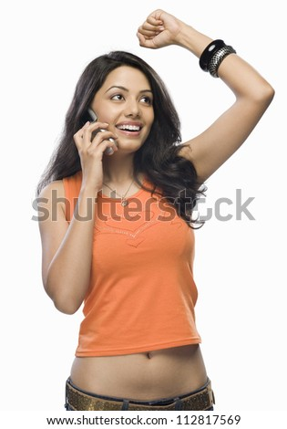 Young woman talking on a mobile phone