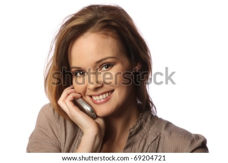 young woman talking on cell phone - stock photo