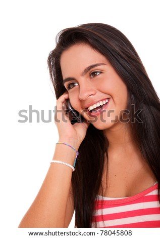 Young woman talking on cell phones over white background - stock photo