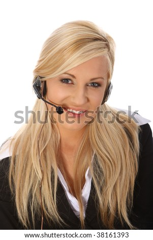 Young woman talking on headphones - stock photo