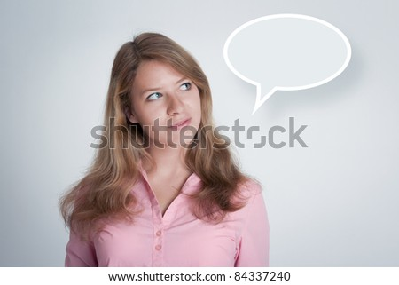 Young woman think. In balloon place your idea. - stock photo