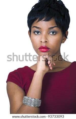 Young woman thinking - stock photo