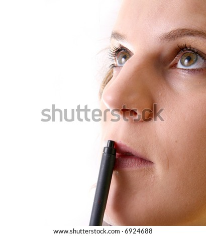 Young Woman Thinking A young woman over white background is thinking with a pencil over her mouth. Ideal for business and corporate purposes.