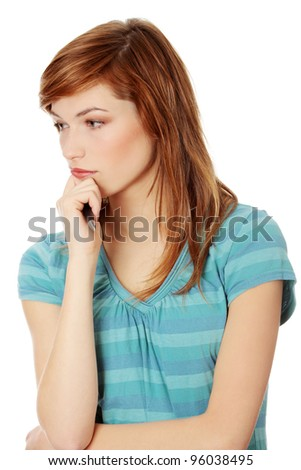 Young woman thinking about a problem , isolated on white - stock photo