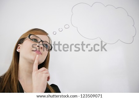 Young woman thinking about future pay rise - stock photo