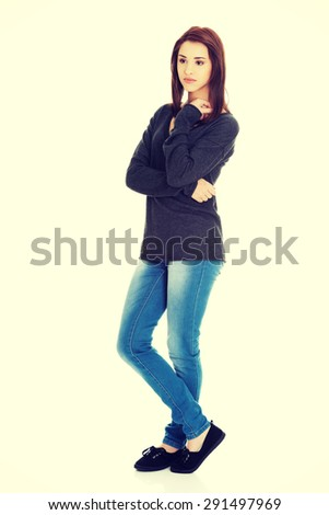 Young woman thinking about something abstract - stock photo