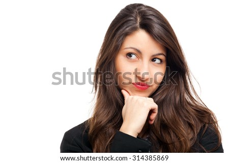 Young woman thinking at something isolated on white - stock photo