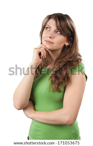 Young woman thinking, isolated on white background - stock photo