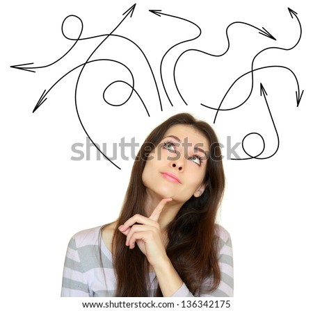 Young woman thinking with many arrows above the head isolated on white background - stock photo