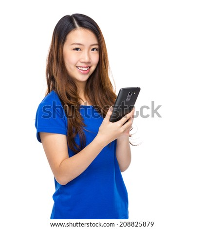 Young woman touch on cell phone
