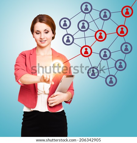 young woman touching an icon activating a word of mouth chain - stock photo