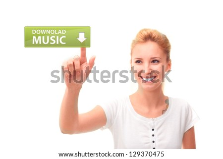 Young woman touching button download music on the screen - stock photo